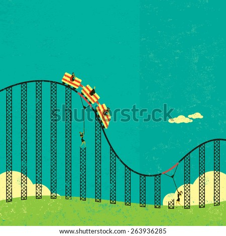 Support in a roller coaster economy Businesswomen supporting the broken tracks of the roller coaster economy so their clients don't fall off.  - stock vector