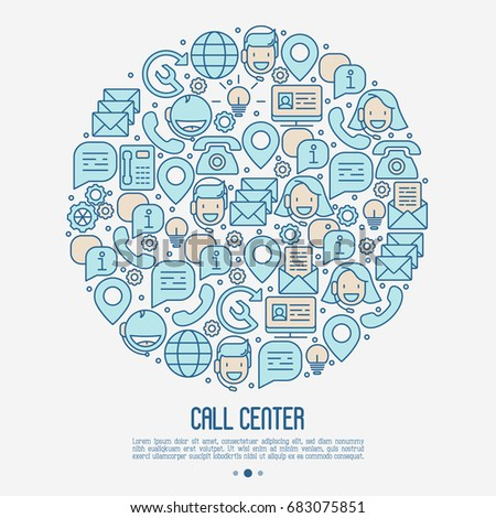 Support service concept in circle with thin line call center or customer service icons. Vector illustration for banner, web page of call center.