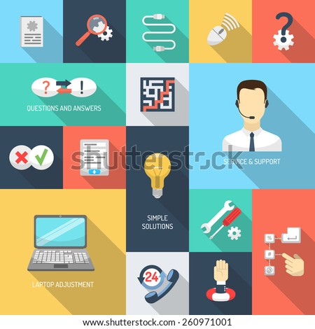 Support service simple questions and answers solutions icons flat set isolated vector illustration - stock vector