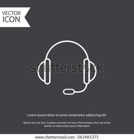 support vector icon.  headset. eps 10. gray icon. - stock vector