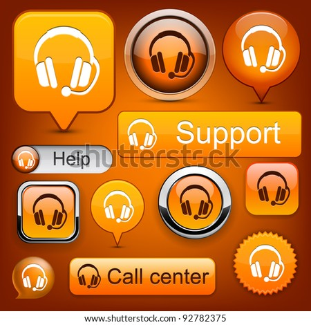 Support web orange buttons for website or app. Vector eps10.