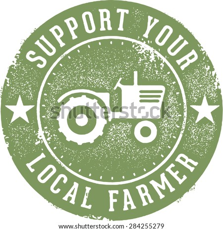 Support Your Local Farmer Stamp - stock vector