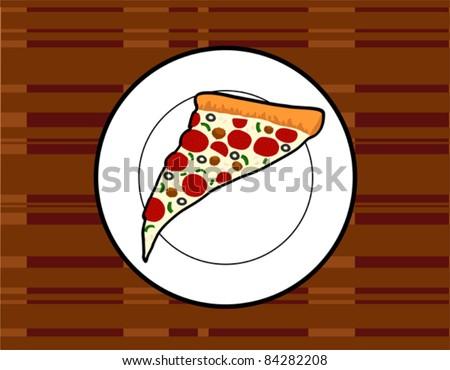 Supreme Pizza Slice Retro Style Illustration - Vector Illustration. (high resolution JPEG also available). - stock vector