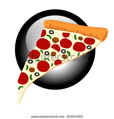Supreme Pizza Slice Symbol - Retro Style Vector Illustration. (high resolution JPEG also available). - stock vector