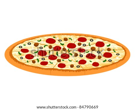 Supreme Pizza - Vector Illustration. (high resolution JPEG also available). - stock vector