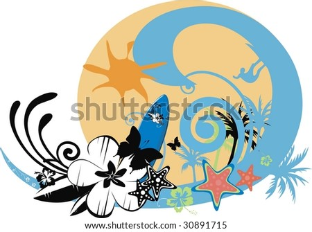 surf background with waves, butterfly, flowers - stock vector
