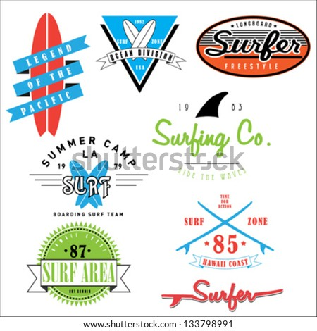 Surf badges and emblems - stock vector