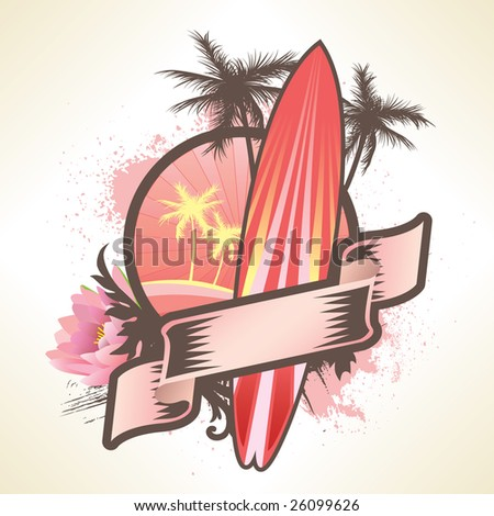 Surf Banner - stock vector