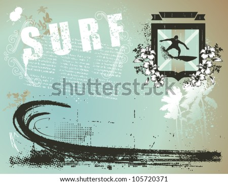 surf banner with shield and paradise beach - stock vector
