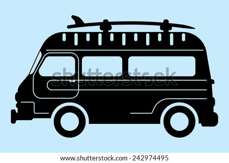 surf bus silhouette - stock vector
