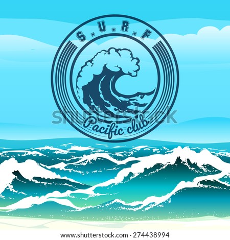 surf club logo emblem against stormy stock vector