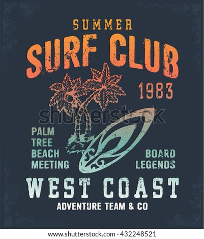 Surf Club multicolored print for t-shirt or apparel. Retro artwork with summer and beach elements and typography. Old school vector for fashion and printing. Vintage effects are easily removable.