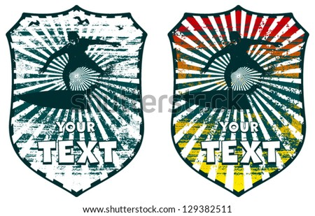 surf colorful shield with surfer - stock vector