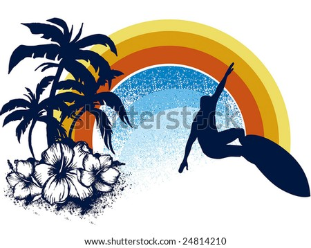 surf emblem whit palms, hibiscus and rainbow - stock vector