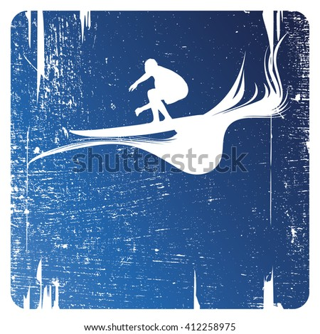 surf grunge frame - stock vector