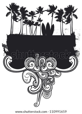 surf grunge frame with palms and waves - stock vector