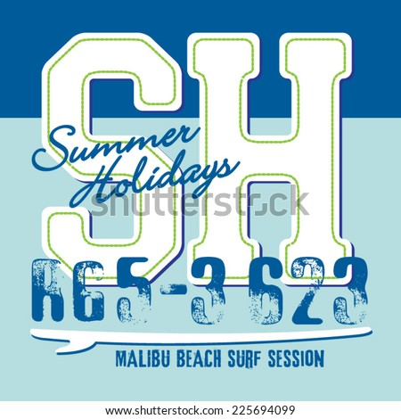 Surf holiday typography, t-shirt graphics, vectors - stock vector