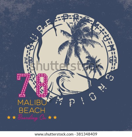 Surf Illustration / t-shirt graphics / vectors/ typography/ pacific surf wave/ summer tropical heat print/ surf print vector set/ wave illustration - stock vector