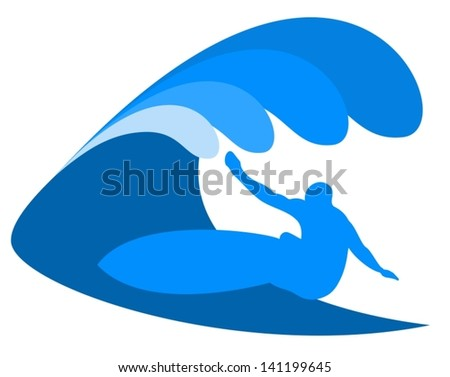Surf in blue waves - stock vector