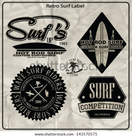 surf label vector set.paradise wave surf boarding set. - stock vector