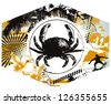 surf label with big crab - stock vector