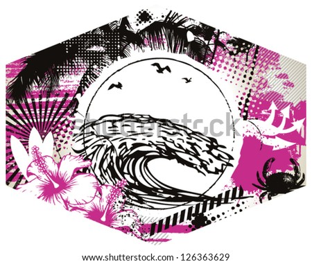 surf label with big wave and summer background - stock vector