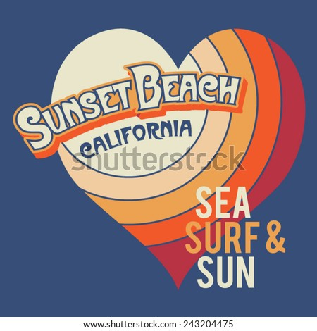 Surf love girl typography, t-shirt graphics, vectors - stock vector