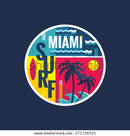 Surf - Miami - vector illustration concept in vintage graphic style for t-shirt and other print production. Palms, wave illustration. Badge logo design.