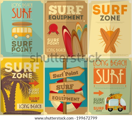 Surf Retro Posters Collection in Vintage Design Style. Vector Illustration. - stock vector