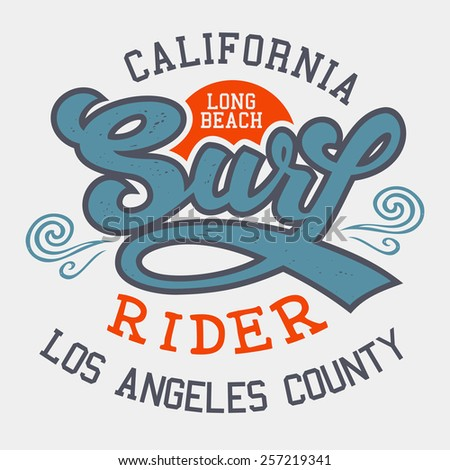 Surf rider Long Beach California, t-shirt typographic design  - stock vector