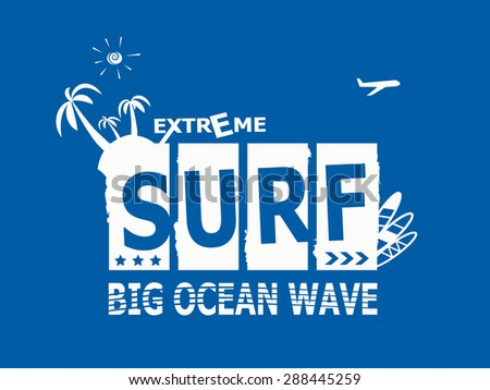 Surf Rider text design element. Extreme summer surfing, T-shirt graphics.