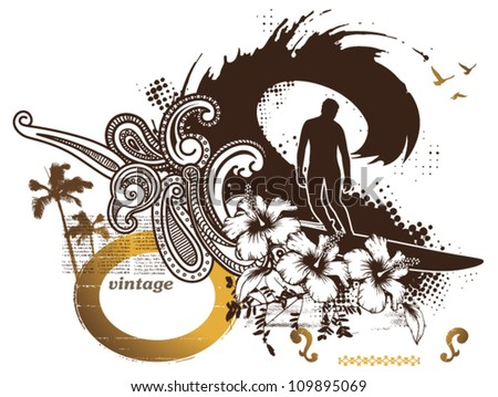 surf rider with beauty waves - stock vector