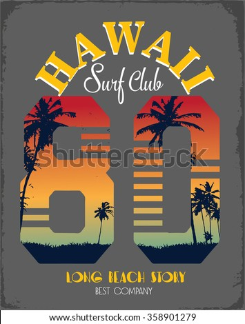 Surf's Up hand-lettering, t-shirt typographic design, vectors/ typography/ pacific surf wave/ summer tropical heat print/ surf print vector set/ wave illustration, blue ocean, surfboard vector,hawaii