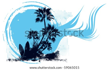 surf scene blue grunge circle wave background
