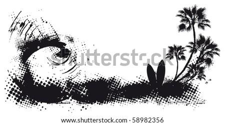 surf scene grunge coast background - stock vector