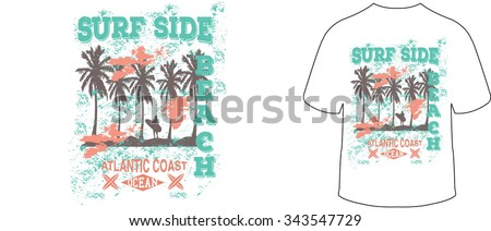 Surf Side Beach vector print and varsity. For t-shirt or other uses in vector. - stock vector