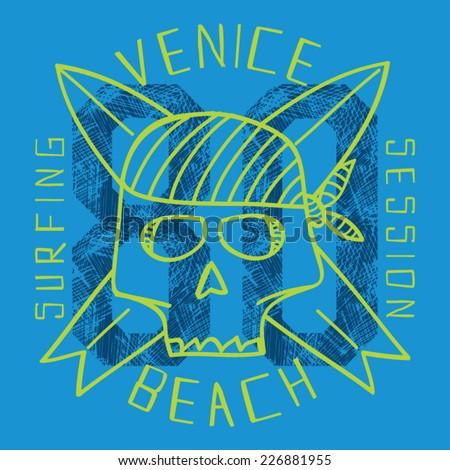 Surf skull vectors, t-shirt graphics - stock vector