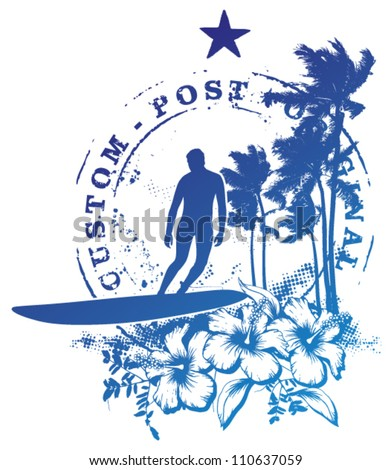 surf stamp mark with surfer and summer scene - stock vector