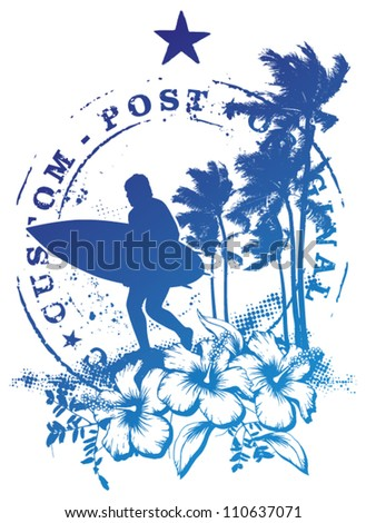 surf stamp mark with surfer running - stock vector