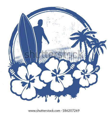 Surf stamp with grunge summer background, vector illustration - stock vector