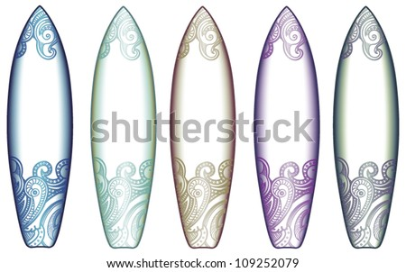surf tables in different colors - stock vector