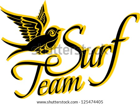surf team slogan vector art - stock vector