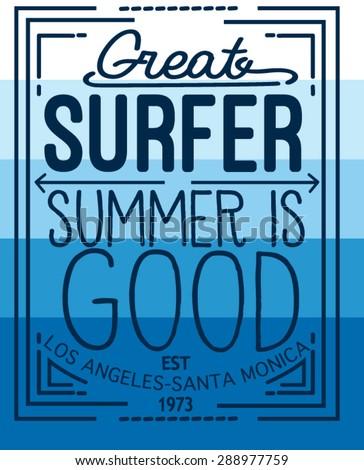 surf typography design - stock vector