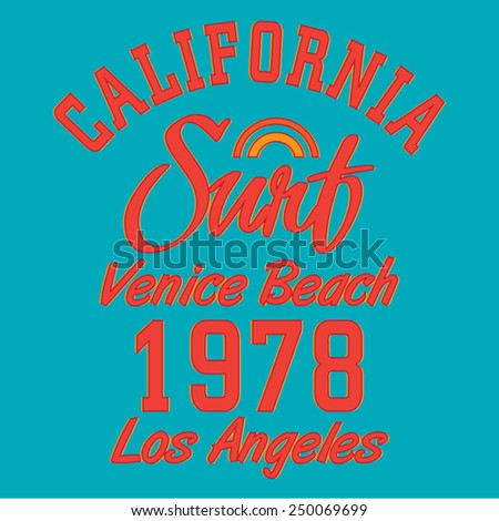 Surf typography, t-shirt graphics, vectors - stock vector