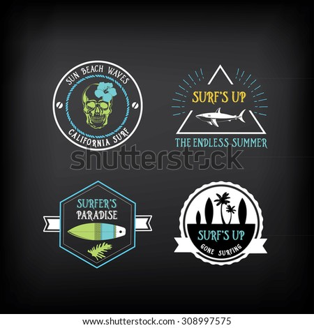 Surf vintage elements. Retro logo board. Hawaii beach wave banner. - stock vector