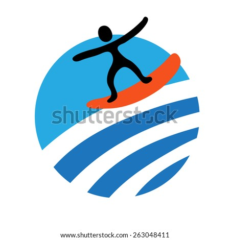 surf, water sport,  vector icon - stock vector