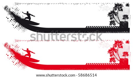 surf wave beach summer grunge banner - stock vector