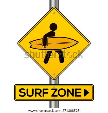 Surf zone yellow  isolated vector road sign