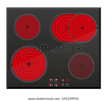 surface for electric inductive stove vector illustration isolated on white background - stock vector