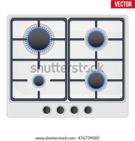 Surface of white gas hob is on and with flame. Top view of stove. Domestic equipment. Editable Vector illustration Isolated on white background.